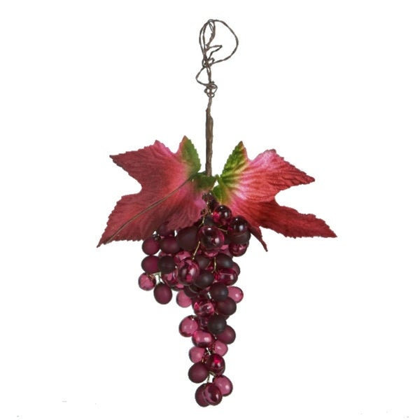 "7"" Tuscan Winery Burgundy Grape Cluster Christmas Ornament - PURPLE"