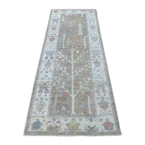 """Shahbanu Rugs Hand Knotted Oushak With Soft Velvety Wool Brown Runner Rug (2'10"""" x 8'0"""") - 2'10"""" x 8'0"""""""