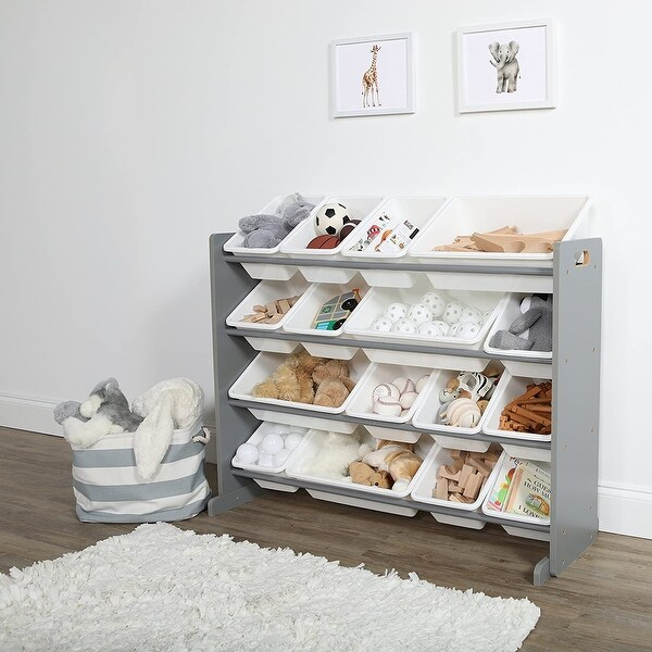16 Plastic Bins Supersized Wood Toy Storage Organizer. Opens flyout.