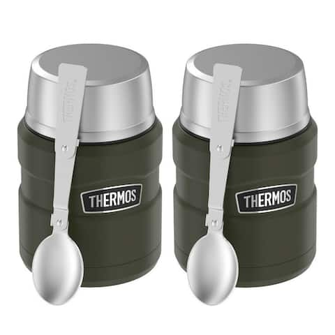 Thermos Stainless King 16 oz Food Jar with Spoon (Army Green, 2-Pack)