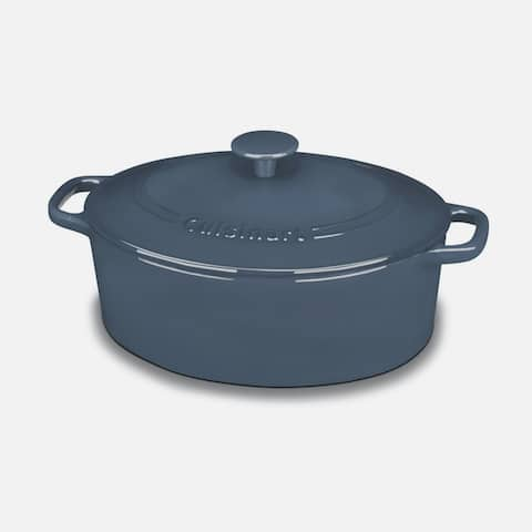 Cuisinart CI755-30BG Chef's Classic Enameled Cast Iron 5-1/2-Quart Oval Covered Casserole, Provencial Blue