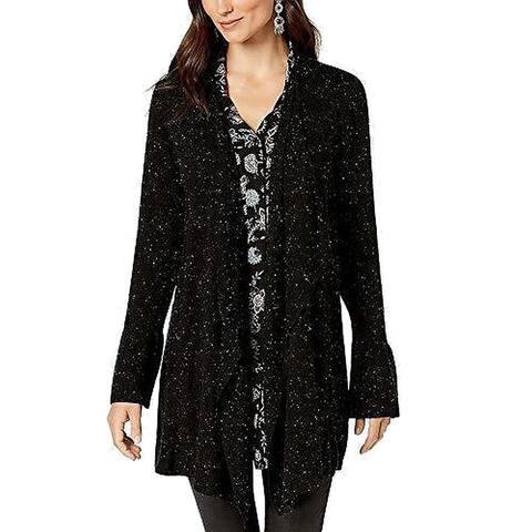 Style & Co. Women's Sweater Black Size XXL Plus Cardigan Bell-Sleeves