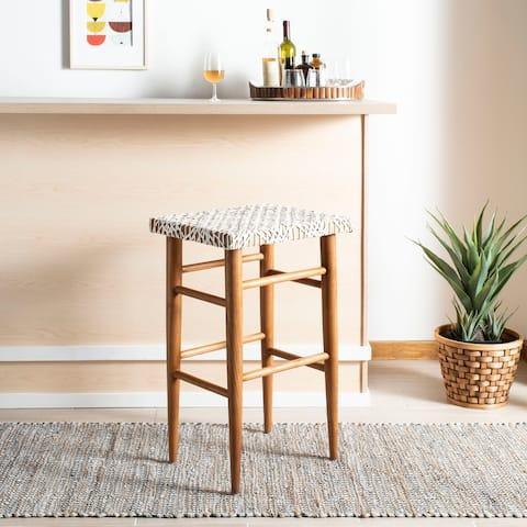 "SAFAVIEH 30 -inch Kaleo Woven Leather Barstool - White / Natural - 19"" x 13"" x 30"""
