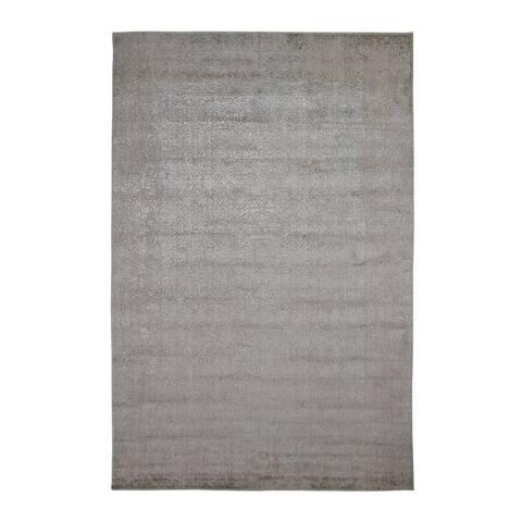 "Shahbanu Rugs Taupe Fine Jacquard Hand Loomed Modern Wool and Art Silk Oriental Rug (5'9"" x 9'0"") - 5'9"" x 9'0"""