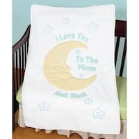 "Stamped White Quilt Crib Top 40""X60""-Love You To The Moon"