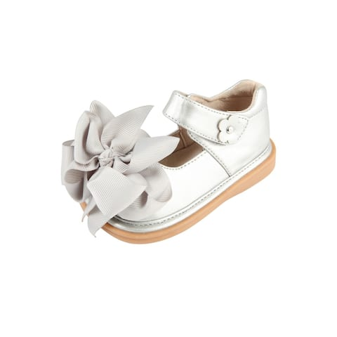 Mooshu Trainers Little Girls Silver Squeaky Cute Bow Mary Jane Shoes