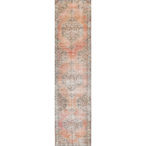 """Antique Geometric Tribal Tabriz Persian Wool Runner Rug Hand-knotted - 2'3"""" x 12'7"""". Opens flyout."""