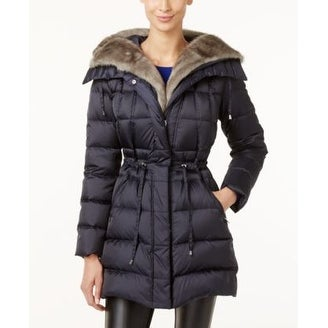 d7b78a9b5470e Shop Laundry by Shelli Segal Faux-Fur-Trimmed Quilted Puffer Slate Large -  L - Free Shipping Today - Overstock - 20258520