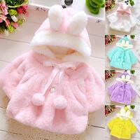 Baby Girls Infant Rabbit Ear Hoodie Warm Coat Pom Pom Bowknot Winter Clothes