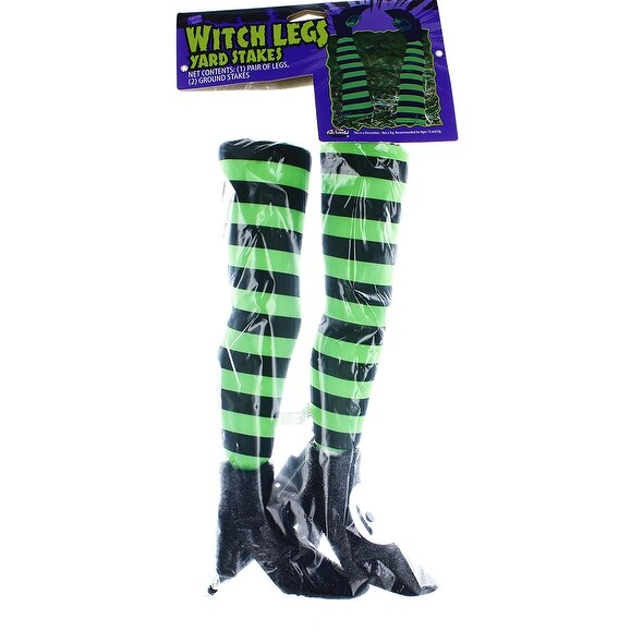 Witch Legs Yard Stakes Green/Black Halloween Décor