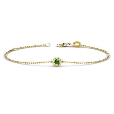 TriJewels Gemstone Solitaire Station Minimalist Bracelet 14K Gold