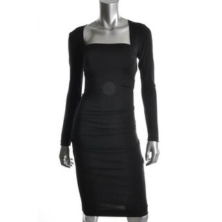 Nicole Miller Womens Ruched Jersey Little Black Dress - S