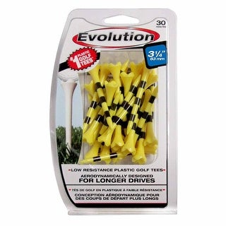 "Pride Evolution Striped Plastic 3-1/4"" Pack of 30 Golf Tees - Yellow"