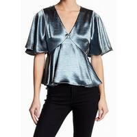 Ro&De Blue Womens Size Large L Satin V-Neck Short Sleeve Blouse