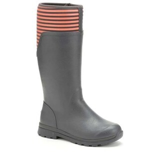 Muck Boot Women's Cambridge Tall Gray/Orange Stripe Size 9 Premium Rain Boots