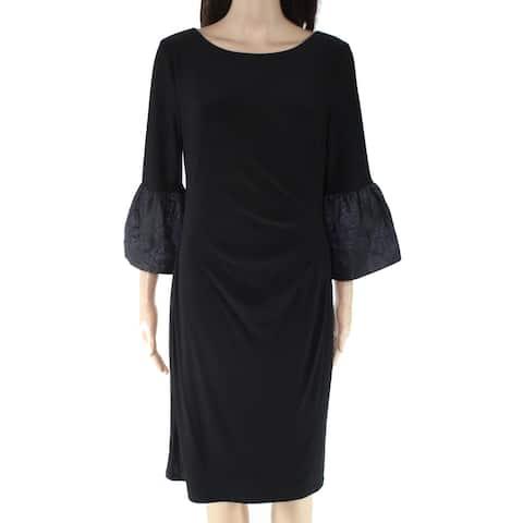 Lauren by Ralph Lauren Womens Dress Black Size 0 Sheath Bell Sleeve