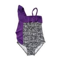 Girls Black Purple Zebra Print Shoulder Ruffle Detail One Piece Swimsuit