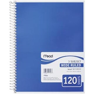 "White-Assorted Colored Covers - 3 Subject Notebook Spiral Bound 10.5""X8"" 120/Pad"