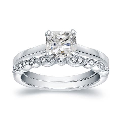 Auriya 14k Gold 1 1/6ctw Vintage Cushion-cut Solitaire Diamond Engagement Ring Set