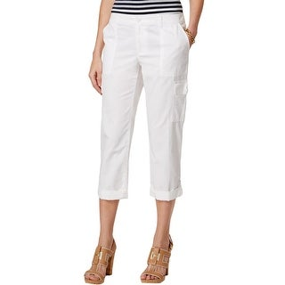 Tommy Hilfiger Womens Capri Pants Cotton Cuffed Capri