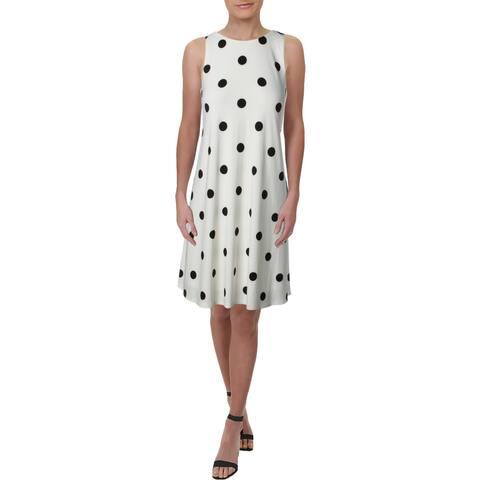 Lauren Ralph Lauren Womens Suzan Wear to Work Dress Polka Dot Knee-Length