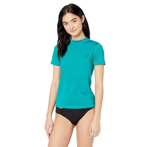 Billabong Women's Core Loose Fit Short Sleeve Rashguard, Pacific, Size Medium