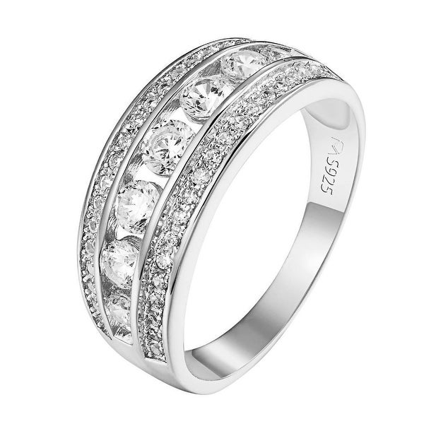 Solitaire Wedding Ring Womens Sterling Silver Round Cut Lab Diamond Bridal