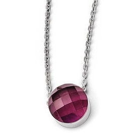 Chisel Stainless Steel Polished Maroon Glass with 1 inch Extension Necklace (1 mm) - 18 in