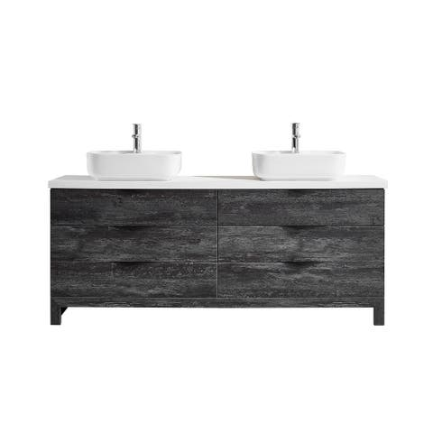 Spencer 72 in. Vanity in Grey with Artificial Stone Vanity Top in White with White Vessel Sink