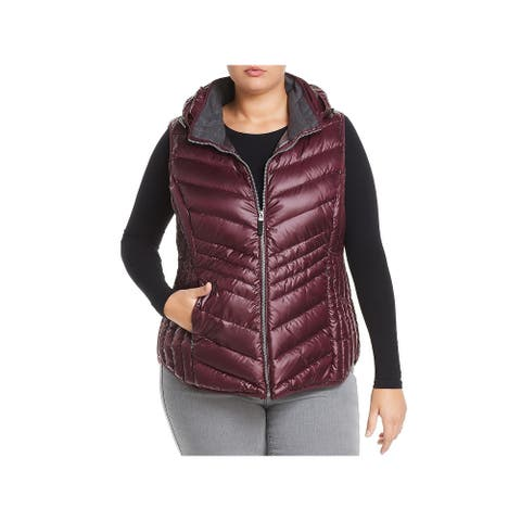 Marc New York by Andrew Marc Womens Plus Ruby Outerwear Vest Down Puffer - Merlot - 1X
