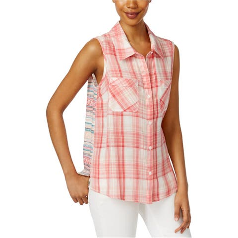 Style&Co. Womens Mixed-Print Button Up Shirt