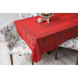 Tablecloth Grega Design Brazilian Lace 59x86 Inches Red color 100 Percent Polyester