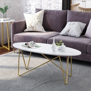 LANGRIA Faux Marble Oval Coffee Table for Living Room, Coffee Table Oval Wooden Tea Table with Gold-Colored Metal Base