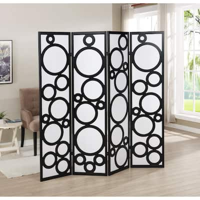 Arvada 4-Panel Wood Room Divider with Circle Pattern