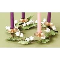 """11.5"""" White Glittered Berry and Green Leaf Christmas Advent Wreath Taper Candle Holder"""
