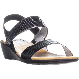 BareTraps Melody Strapped Wedge Sandals, Black - 9.5 us
