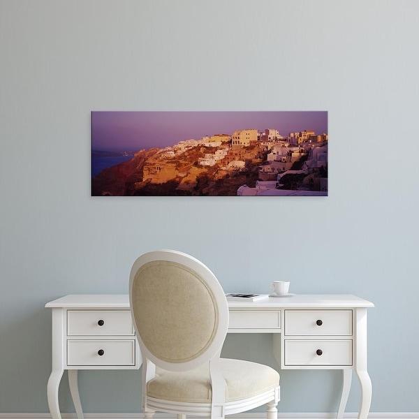 Easy Art Prints Panoramic Images's 'Town on a cliff, Santorini, Greece' Premium Canvas Art