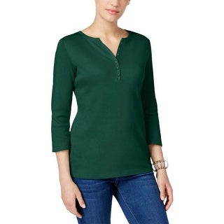 Karen Scott Womens Henley Top 3/4 Sleeves Casual - m