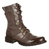 Durango Boot Women's DRD0322 Drifter Military Inspired Lacer Boot Expresso Full Grain Leather/Canvas