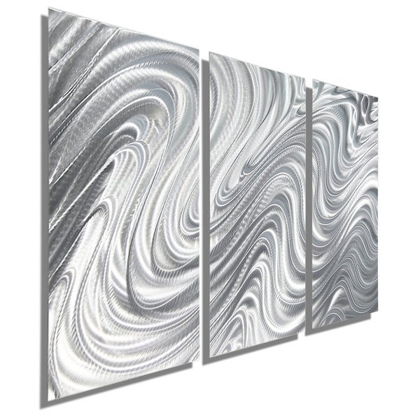 Statements2000 Silver 3 Panel Metal Wall Art Sculpture by Jon Allen - Hypnotic Sands 3P