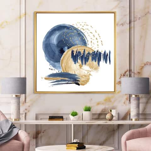 Designart 'Dark Blue & Gold Abstract Circle Ocean Texture' Modern Framed Canvas Wall Art Print