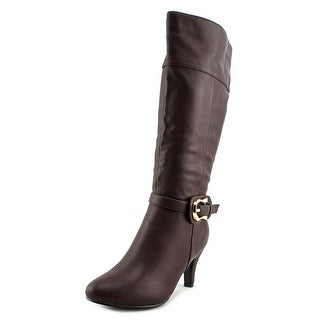 Annie Shoes Roxy Women  Round Toe Leather Brown Mid Calf Boot
