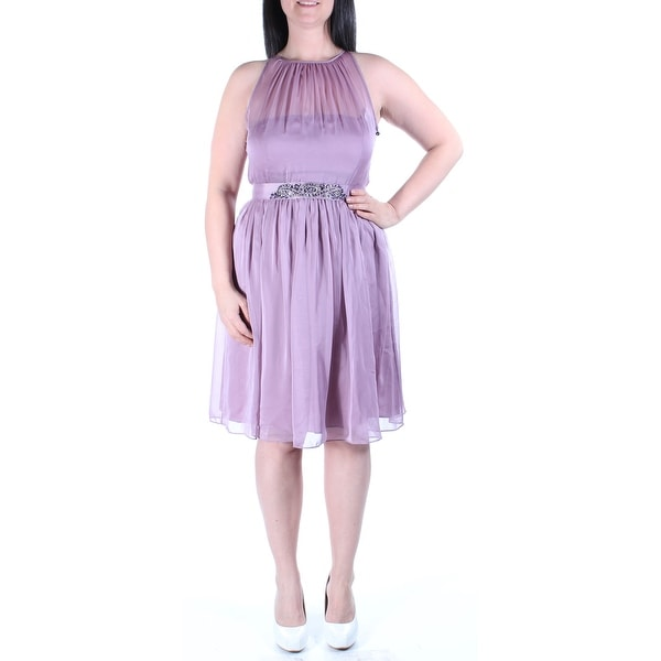 Shop Womens Purple Sleeveless Above The Knee Fit Flare