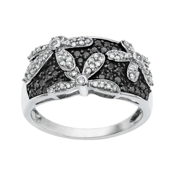 1/2 ct Black and White Diamond Flower Ring in 14K White Gold