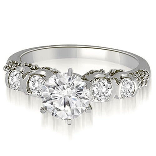 0.98 cttw. 14K White Gold Round Cut Diamond Engagement Ring