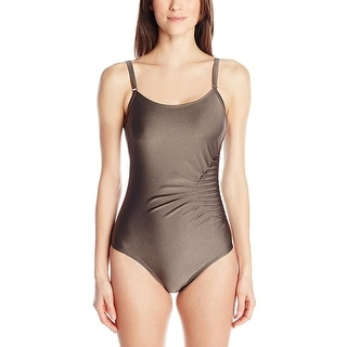 Calvin Klein Womens Shimmer Adjustable Straps One-Piece Swimsuit - 4