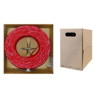Offex Plenum Cat6 Bulk Cable, Red, Solid, UTP (Unshielded Twisted Pair), CMP, 23 AWG, Pullbox, 1000 foot