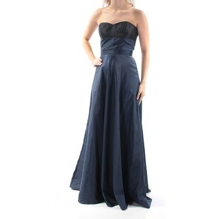 Womens Navy Sleeveless Full Length Fit + Flare Prom Dress Size: 4