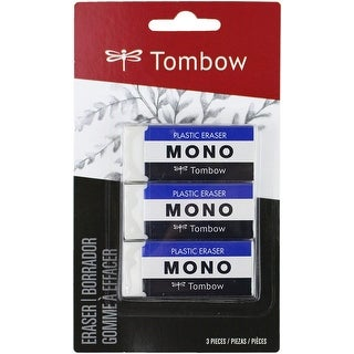 Tombow Mono Medium Plastic Eraser 3/Pkg-White