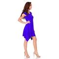 Simply Ravishing Women's Short Sleeve Stretch Swing Handkerchief Hem Dress Medi Dress - Thumbnail 8